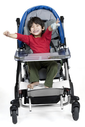 boy in a power chair